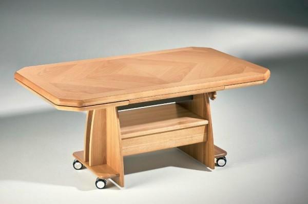Hasse Holz-Couchtisch 1340 - Platte ausziehbar + Schubkasten - höhenverstellbar