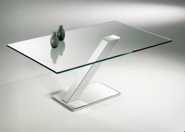 Hasse Glas-Couchtisch Modell 8269 - Klarglasplatte, Gestell verchromt, Edelstahl