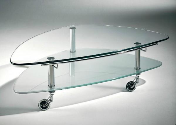 Hasse Glas-Couchtisch Modell 8074- Klarglasplatte mit Ablageplatte mattiert oder schwarz