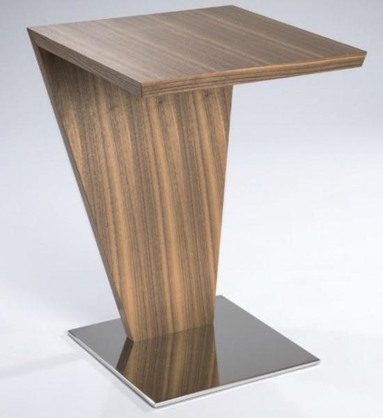 Hasse Holz-Design-Beistell-Tisch - Modell 7146- Sockel in Edelstahl