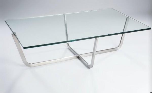 Hasse Glas-Couchtisch Modell 8240 - Klarglasplatte mit Edelstahlgestell