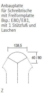 Röhr-Bush - Techno 019 - Anbauplatte für Schreibtische mit Freiformplatte