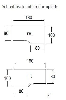 Röhr-Bush - Techno 019 - Schreibtisch Freiformplatte - elektrisch höhenverstellbar - 180 cm