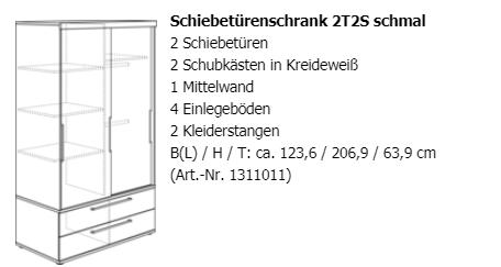 Paidi Schiebetürenschrank Fionn Remo schmal 2T2S Breite 123,6 cm