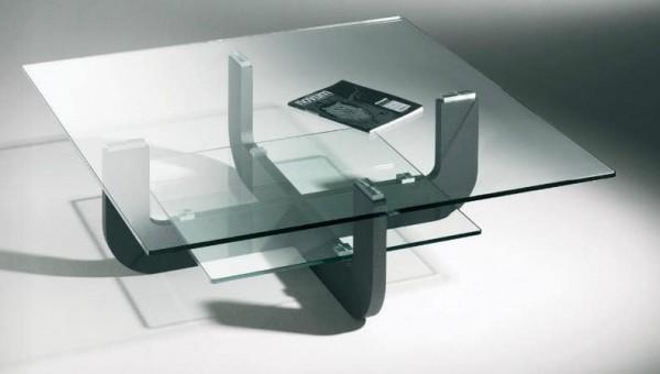 Hasse Glas-Design-Couchtisch Modell 7350- Gestell anthrazit - mit Ablageplatte in Klarglas