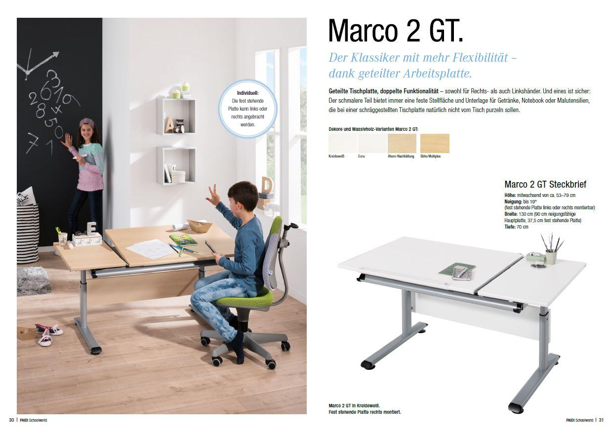 Paidi Schreibtisch Marco 2 130 GT geteilt 130x70 cm Schoolworld