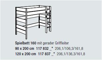 Paidi Spielbett Kira ( Höhe 160 cm, Leiter gerade )