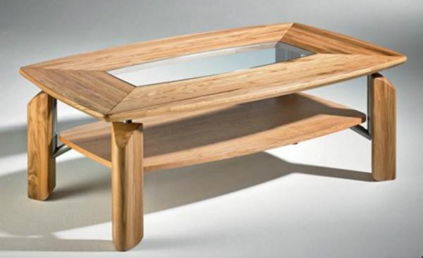 Hasse Holz-Couchtisch-Modell 1570 - Klarglas oder Steineinlage