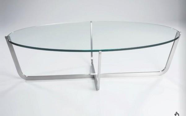 Hasse Glas-Couchtisch Modell 8242 - Klarglasplatte oval mit Edelstahlgestell