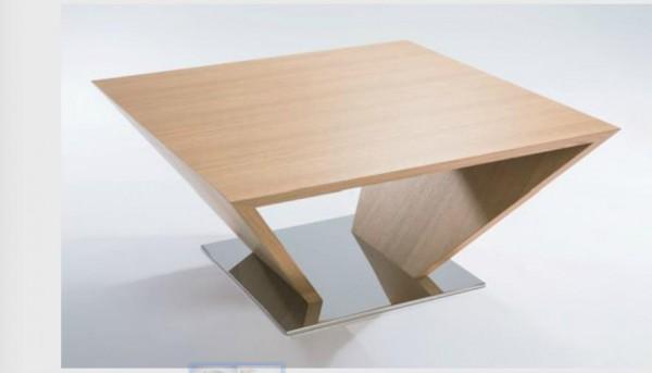 Hasse Holz-Design-Couchtisch Modell 7140- Sockel in Edelstahl