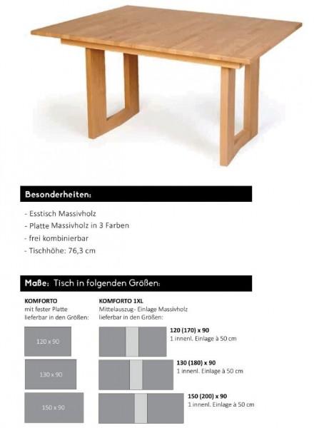 Standard - Esstisch Komforto - Platte Massivholz