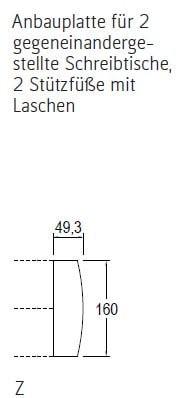 Röhr-Bush - Techno 019 - Anbauplatte für 2 gegeneinandergestellte Schreibtische