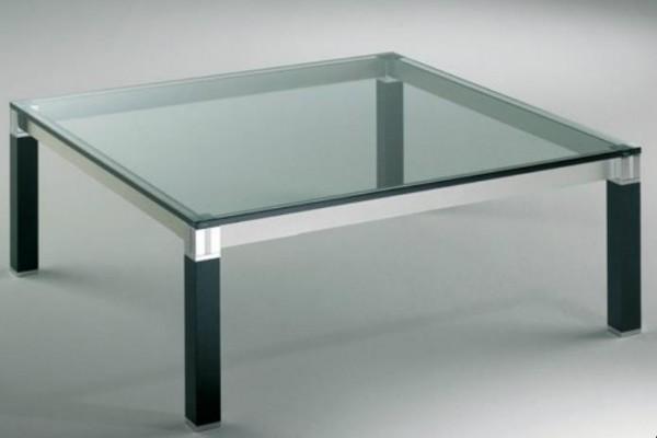 Hasse Glas-Couchtisch Lugano - Chrom/Aluminium - Mooreiche