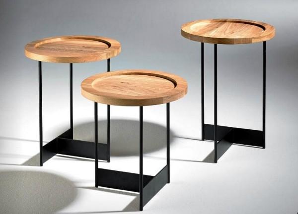 Hasse Beistell-Tisch Modell 7735/7736/7737 - in Eiche oder Nussbaum