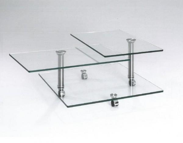 Hasse Glas-Couchtisch - Modell 8396 - Tischplatten schwenkbar, Bodenplatte Glas