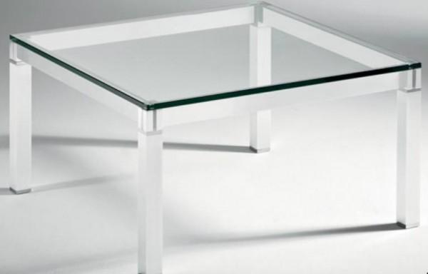Hasse Glas-Couchtisch Lugano - Chrom/Aluminium - Weiß lackiert