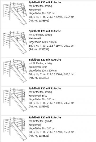Paidi Spielbett Ylvie ( Höhe 120 cm mit Rutsche )