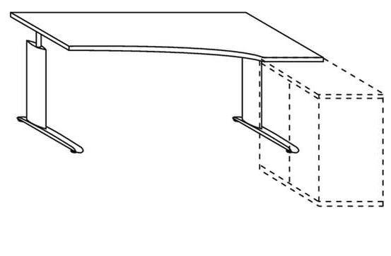 Röhr-Bush - Techno 019 - Schreibtisch mit Freiformplatte - Breite 180 cm