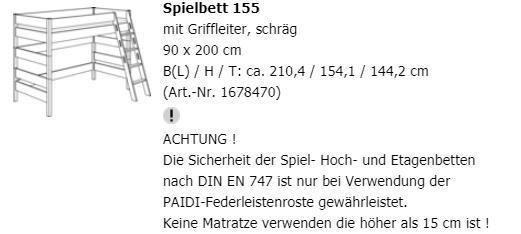 Paidi Spielbett Biancomo Hohe 155 Cm