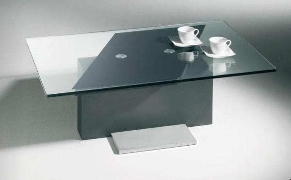 Hasse Glas-Design-Couchtisch Modell 7360- mit verschiebbarer Tischplatte