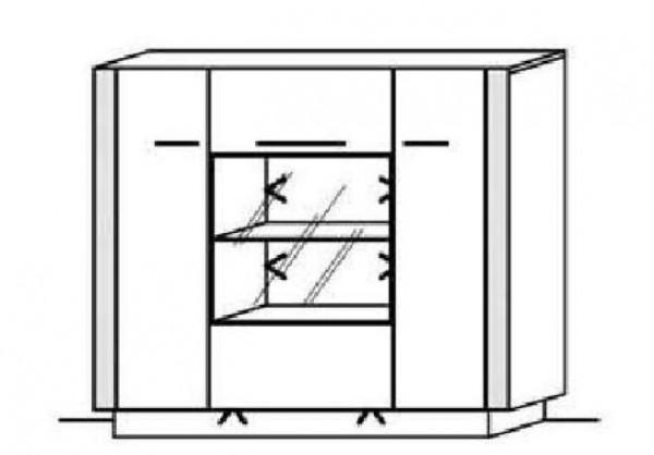 Schröder Kitzalm Alpin - Highboard - Nr. 4645 Blende Aluminium