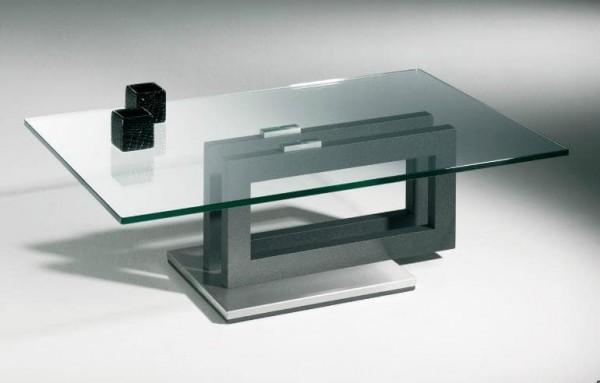 Hasse Glas-Design-Couchtisch Modell 7330 - Gestell anthrazit oder weiß - Sockel Edelstahl