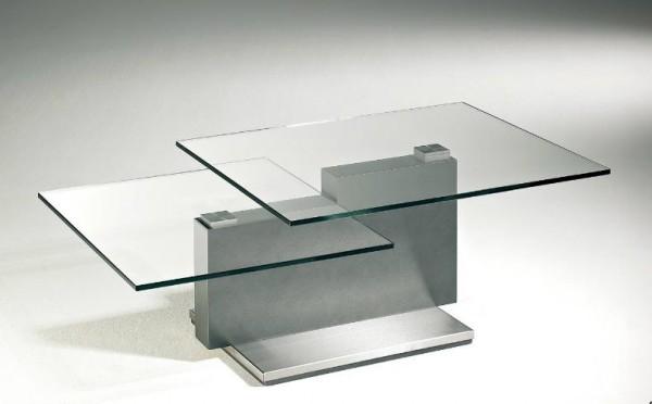 Hasse Glas-Couchtisch - Modell 7670- obere Tischplatte schwenkbar
