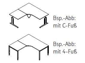 Röhr-Bush - Techno 019 - Kombischreibtisch mit Freiformplatte - Breite 240 cm