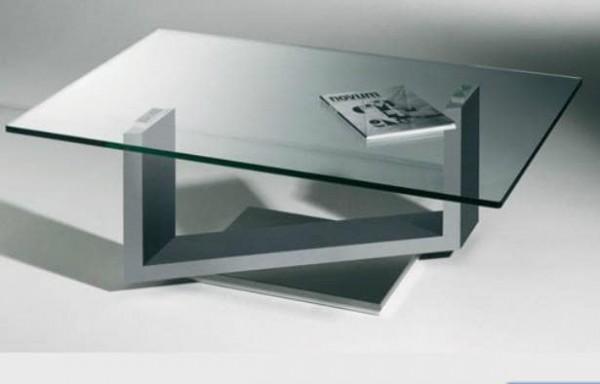 Hasse Glas-Design-Couchtisch Modell 7340 - Gestell weiß oder anthrazit - Sockel Edelstahl