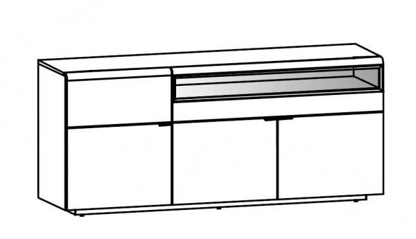 Voglauer V-Cube - Sideboard 192 - 3-türig - 2 Laden mit Vitrinenteil - CSL19