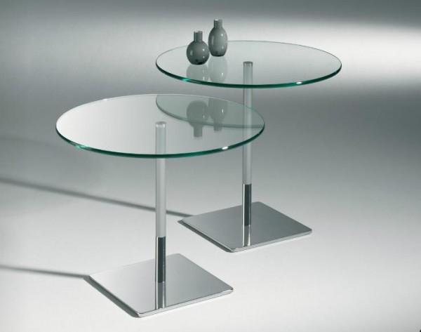 Hasse Beistell-Tisch Modell 8506 / 8507 - Tischplatte in Klarglas, Eiche oder Nussbaum