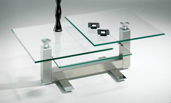 Hasse Glas-Couchtisch - Modell 8266 NK - 3tlg- Obere Platten schwenkbar