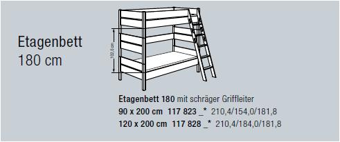 Paidi Etagenbett Kira ( Höhe 180 cm, Leiter schräg )