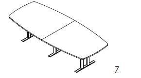 Röhr-Bush - Techno 019 - Konferenztisch mit Stichbogenplatte - Breite 300 cm
