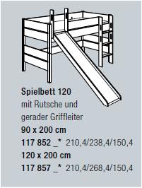 Paidi Spielbett Kira ( Höhe 120 cm, Leiter gerade + Rutsche )