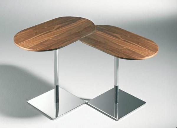 Hasse Beistell-Tisch Modell 8504 / 8505 - Tischplatte in Klarglas, Eiche oder Nussbaum