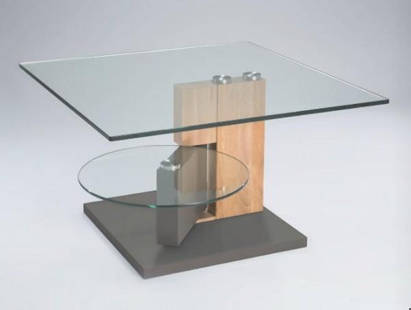 Hasse Glas-Couchtisch - Kernbuche - Sockel taupe
